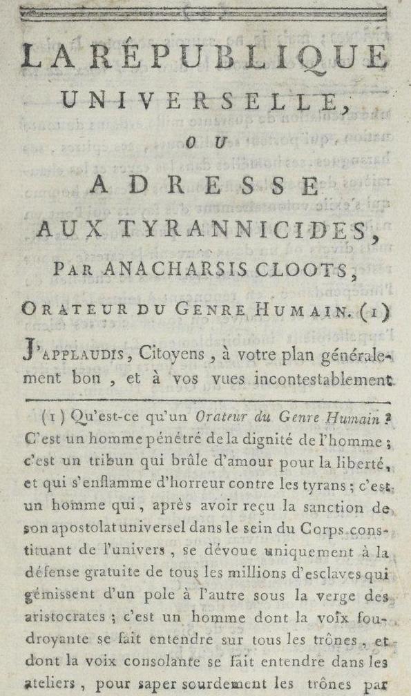 Livre La République universelle d'Anacharsis Kloots