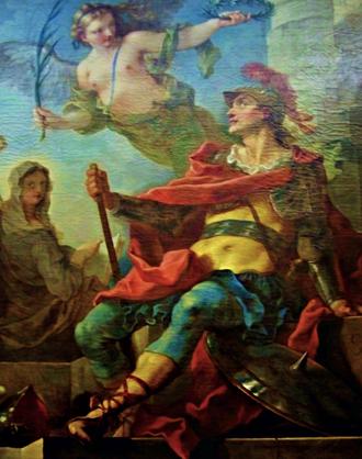 Natoire, Clovis couronné par la Victoire fait éclore la religion