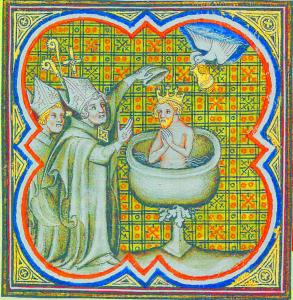 Baptême de Clovis. Il Est baptisé par saint Remy, l'évêque de Reims. Le Saint-Esprit Apporte la sainte Ampoule le saint chrême Contenant Qui Servit à l'onction des rois de France